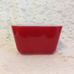 PYREX ~ Primary Red Refrigerator Dish  ~ # 501  ~ Opalware Interior ~ Retro Kitchen Item - Good Vintage Condition ~ No Chips or Cracks by VintageGoodsBySharon on Etsy