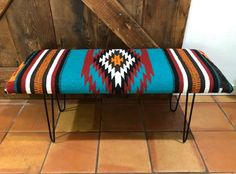 Farmhouse Table With Bench, Rustic Bench, Farmhouse Decor, Fabric Coffee Table, Aztec Bedding, Aztec Decor, Western Bedding, Southwest Decor, Southwest Style