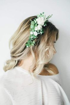 White and green faux floral crown from Leteria on Etsy