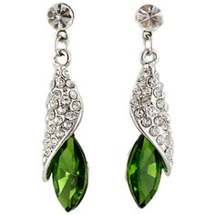 Green Gemstone Silver Crystal Stud Earrings ($7.99) ❤ liked on Polyvore featuring jewelry, earrings, green silver earrings, earrings jewelry, crystal stud earrings, silver jewellery and green gemstone jewelry