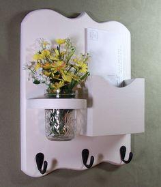 Mail Organizer - Mail and Key Holder - Letter Holder - Key Hooks- Jar Vase - Organizer. $24.95, via Etsy.