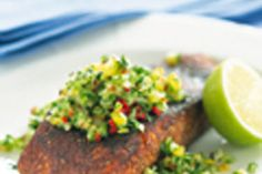 Cajun Blackened Salmon with Cucumber Salad recipe, NZ Woman's Weekly – visit Food Hub for New Zealand recipes using local ingredients – foodhub.co.nz