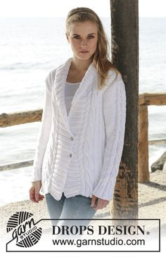 """Knitted DROPS jacket with rib and cables in """"Paris"""". Size XS to XXXL."""