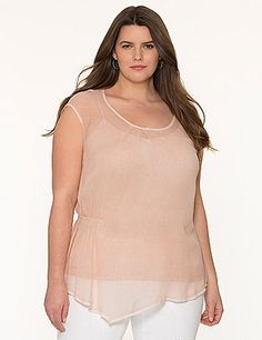 DKNY JEANS amplifies the attitude on your look with this washed layered top. Sheer cap-sleeve top features a draping silhouette gathered at one side for a flattering fit, with an asymmetric hem and pleated scoop neck. Lined with a soft knit tank with adjustable straps.  lanebryant.com