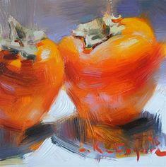 "Daily+Paintworks+-+""Two+Persimmons""+-+Original+Fine+Art+for+Sale+-+©+Elena+Katsyura"