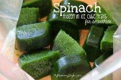 Blend spinach with some water, add to a ice cube tray and freeze. Use in green smoothies. Great way to use spinach (or any greens) that are going to go bad before you can use them! Mymommystyle.com #smoothies #spinach #healthy