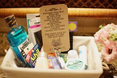Maid of honor Emergency Kit. Weddings are crazy and its the maid of honors duty to bring things the bride might need. Be prepared !