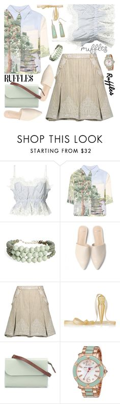 """""""Not Just Beige"""" by petalp ❤ liked on Polyvore featuring Sacai, STELLA McCARTNEY, 31 Bits, Zimmermann, Christian Louboutin, Ally Capellino, Betsey Johnson, New Directions and ootd"""