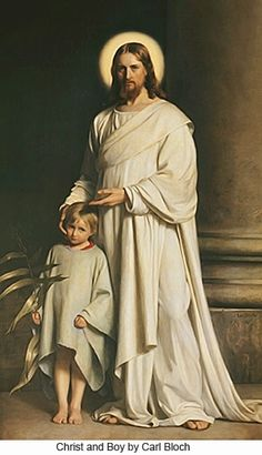 Christ and the young child 1873 Observe the loving, protective relationship as Christ affectionately puts His hand on the child's cheek and gestures toward him.
