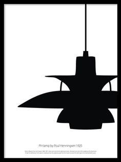 Poster med klassiska PH-lampan, designad av Poul Henningsen. Fin att matcha med posters och prints i samma stil. Snygga svartvita planscher och affischer med designklassiker.