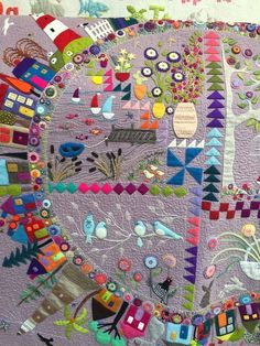 """Workshop With Wendy Williams, that is! I spent a fun day at """"Cutting Cloth"""" admiring all Wendy's lovely quilts.... and learning a few stitches and tricks! Pistil stitch, Whip stitch....These were"""