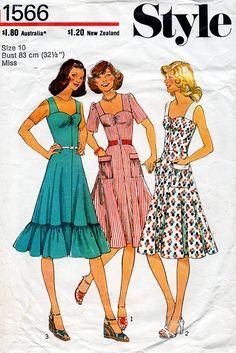 1970s Sun Dress Pattern Style 1566 Vintage by BessieAndMaive