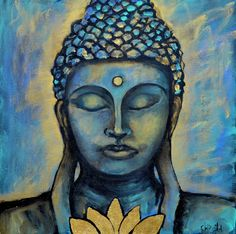 "Mixed Media Buddha Painting, ""Be Present"" 20x20 on 1 1/2"" wrapped canvas by CreativeSoulsArt on Etsy"