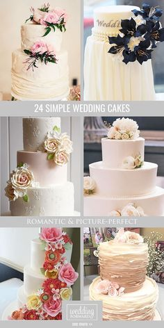 24 Simple Romantic Wedding Cakes ❤ These simple romantic wedding cakes are very stylish and has amazing floral decoration. See more: http://www.weddingforward.com/simple-romantic-wedding-cakes/ #weddings #cake