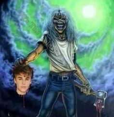 EDDIE of Iron Maiden with Justin Bieber's head. #eddie #ironmaiden #justinbieber http://www.pinterest.com/TheHitman14/eddie-of-iron-maiden-fame/