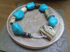 Turquoise wooden bracelet by ShayEmbellishments on Etsy Turquoise Bracelet, Trending Outfits, Unique Jewelry, Bracelets, Handmade Gifts, Etsy, Vintage, Kid Craft Gifts, Craft Gifts