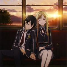 Asuna y Kirito tren