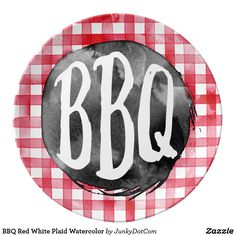 BBQ Red White Plaid Watercolor Plate  sc 1 st  Pinterest & Welcome to our BBQ Bear paper napkin