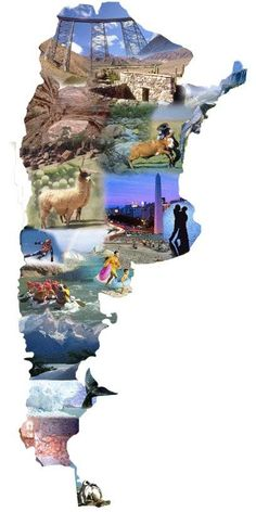Project Idea Cut out photos that highlight the country's culture /history /people and put it in the shape of the country Argentina South America, South America Travel, Ushuaia, Spanish Projects, Argentina Travel, Argentina Culture, Spanish Speaking Countries, Spanish Culture, Geography