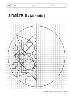 Math Games, Math Activities, Symmetry Activities, Graph Paper Art, Art Worksheets, Math Art, Teaching Math, Art Education, Kids Learning