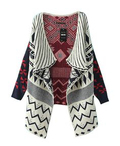 Folk Style Geometric Pattern Cardigan