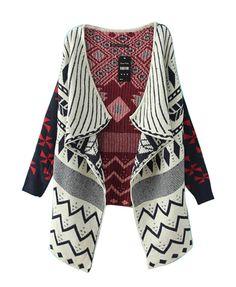 Folk Style Geometric Pattern Cardigan