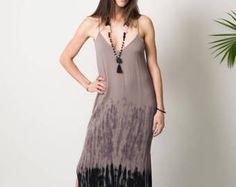 Robe Maxi - gris aux vêtements de Bohème - Tie dye boho robe - ombre noir