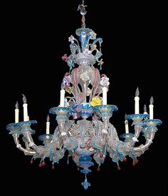 Colorful Hand Blown Venetian Glass Chandelier With 12 Arms And Floral Décor   c.1860