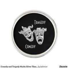 Comedy and Tragedy Masks Silver Theater Lapel Pin