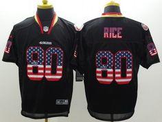 Nike San Francisco 49ers #80 Jerry Rice 2014 USA Flag Fashion Black Elite Jersey