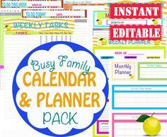 INSTANT Download - Calendar and Planner Printables - Home Organization - Home Management Binder - PDF Printables - 8 Documents