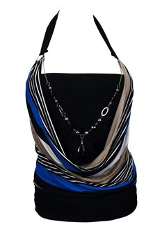 Plus size top features sleeveless halter design with o-ring accented self tie off straps. Beaded chain necklace accent. Layered look with glitter stripe on the outer layer. Thick banded hemline. Available in plus size 1X, 2X, 3X.