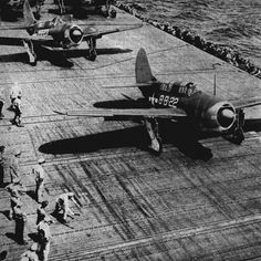 """retrowar: """"Helldivers on a carrier roll forward to take off. Official U.S. Navy photograph. """""""