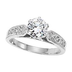 Platinum diamond engagement ring with 0.15ct. The edge fits well against a variety of wedding ring styles.
