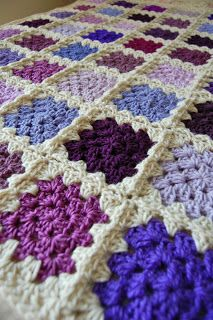 NO NEED FOR PATTERN HERE.....IN CASE YOU DON'T KNOW IT'S A REGULAR GRANNY SQUARE tillie tulip - a handmade mishmosh: Scrappy purple patchwork