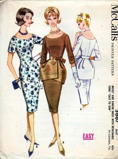 McCalls 5667 Vintage 1960 Scoop Neck and Back Wiggle Dress Tie On Peplum by sydcam123, etsy