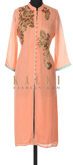 Buy this Peach kurti adorn in kardana embroidery only on Kalki