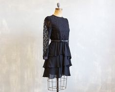 80s Black Lace party dress / New Year's Eve dress by GrizzlyVelvet