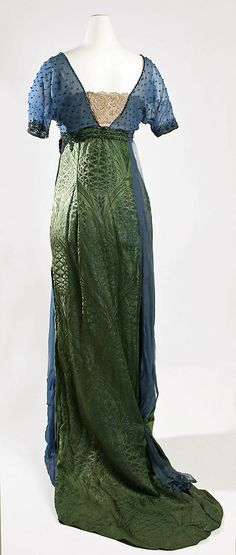 Jeanne Hallée Evening ensemble dress gown and shoe from 1913–1914  silk, metallic thread, glass beading,   leather and metallic thread.