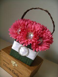Pink Gerbera Daisy Purse Wedding Bouquet Basket  by BloomedToLast, $65.00