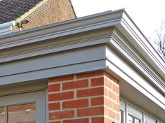 Get the orangery look using a perimeter edge fascia with guttering. Shown here is 'The Cavendish' orangery fascia corner joint. Substantial in its architectural detailing with a marked projection. Garden Room, Kitchen Diner Extension, House Front, Orangery Extension Kitchen, House Exterior, Building A House, Parapet, Orangery Roof, Roof Design