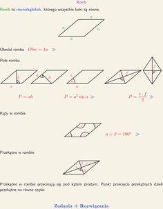 Romb, wzór na pole, kąty w rombie, kąt przecięcia się przekątnych