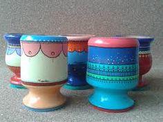 Resultado de imagen para mates pintados con acrilico Paper Mache Bowls, Painted Pots, Terracotta Pots, Online Gratis, Clay Pots, Projects To Try, Mugs, Tableware, Ideas Para