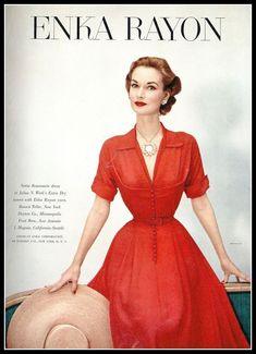 1952 Model Janet Randy in ENKA rayon dress by Nettie Rosenstein, photo by Francesco Scavullo, Vogue Vintage Vogue, Vintage Glamour, Vintage Fashion 1950s, Fifties Fashion, Moda Vintage, Vintage Couture, Vintage Beauty, Retro Fashion, Parisian Fashion