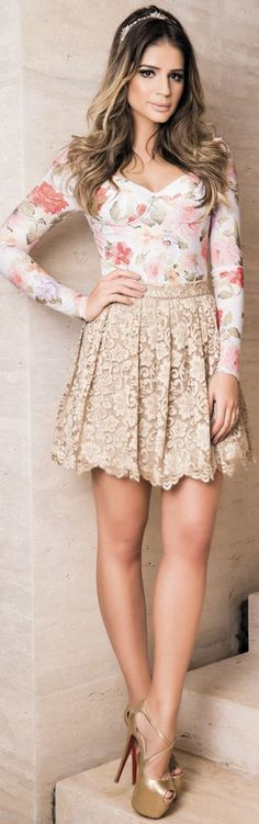 Iorane Blush Lace High Waisted Skirt