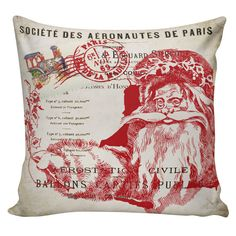 Holiday Throw Pillow Cover Vintage French by ElliottHeathDesigns