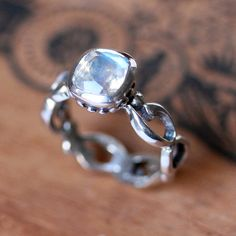 Moonstone engagement ring - rainbow moonstone - cushion bezel - recycled sterling silver - infinity - Wrought ring - made to order