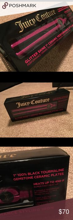 "New! JUICY COUTURE glitter flat iron New! Juicy couture  1"" glitter Flat iron hair straightener  Heats  up to 450 Juicy Couture Accessories Hair Accessories"