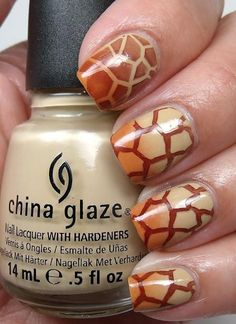 "China Glaze Safari Collection ""Kalahari Kiss"" light golden beige base, ""Desert Sun"" gradient tips and stamped animal prints using and DRK-A with China Glaze ""Call Of The Wild"". Get Nails, Love Nails, How To Do Nails, Pretty Nails, Giraffe Nails, Zebra Nails, Manicure Y Pedicure, Funky Nails, Nail Art Hacks"