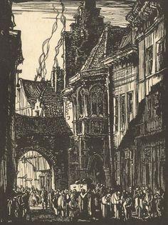 C W Moore after Frank Brangwyn - Early 20th Century Etching, Old Street Antwerp